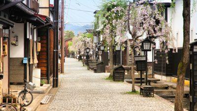 Furukawa village in Hida, Gifu prefecture, Japan. Old town with water canals