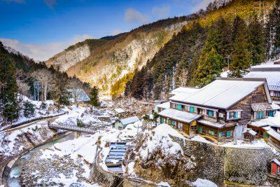 Nagano, Japan valley at Yudanaka and snow monkey park